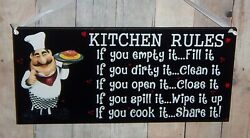 FAT CHEF ITALIAN KITCHEN RULE SIGN PLAQUE WALL KITCHEN BISTRO CUCINA DECOR 9quot; $10.95