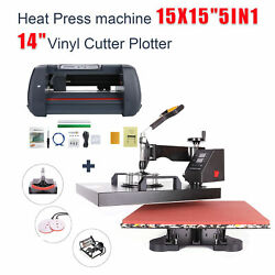 5in1 Heat Press 15x15 + 14 Vinyl Cutter Plotter Business Printer Sublimation $395.88