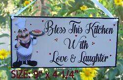 SIGN FAT CHEF BLESS THIS KITCHEN WITH LOVE AND LAUGHTER PLAQUE WALL HANGER DECOR $12.95