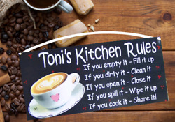 COFFEE KITCHEN RULES SIGN PERSONALIZED COFFEE BAR ANY NAME WALL COUNTRY DECOR $11.95