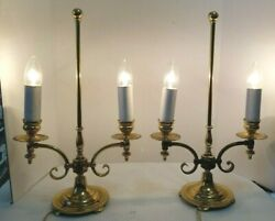 Pair of Dual Double Socket Brass Desk Lamps    $62.50