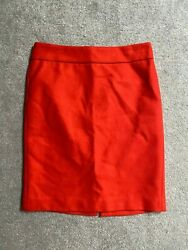 J.CREW Red Pencil Skirt sz 8 100% WOOL Lined Double Serge Knee Length $128 $23.50