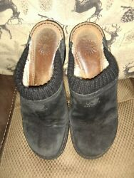 UGG With Helotag 1934 Women#x27;s 9 Black Suede Wool Lined Mules Pre Owned some wear $34.00