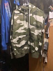 Men#x27;s Nike Camouflage Stitched Hoodie Hoody Medium Zipper front