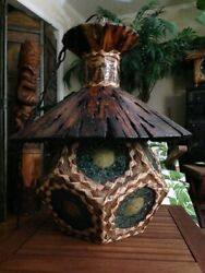 Orchids of Hawaii Tiki Light Lamp Swag Chandelier Kahiki Kon Bar Tapa Shell