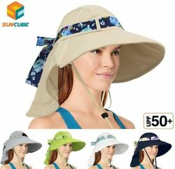 Women Foldable Wide Brim Hat UV Protection Summer Travel Beach Sun Hat with Flap $12.99