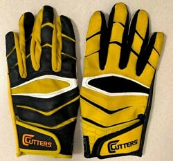 Cutters Gloves Football Wide Receiver Gloves Four Pairs Black White Yellow Grey $9.99