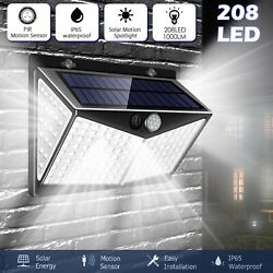 208 LED Outdoor Solar Power Lights PIR Motion Sensor Wall Lamp Garden Waterproof