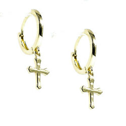 Mens Gold Hip Hop Solid Small Cross Dangle Mini Drop Huggie Clip Hoop Earrings $24.29