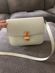 Authentic Celine medium classic bag in box calfskin light green color