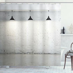 A Brick Concrete Room with Ceiling Lamps Modern Decoration Shower Curtain Set $39.99