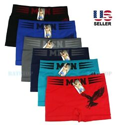 Lot 6 Pack Mens Microfiber Boxer Briefs Underwear Compression Stretch Sport Flex $14.95
