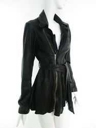 STUNNING WOMEN ALL SAINTS NETIA LEATHER JACKET DECONSTRUCTED BIKER BLACK 10 £450 $300.24