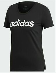 Adidas Women Tee Brushed Effect Linear Logo White or Black Select Size MSRP $25 $13.49