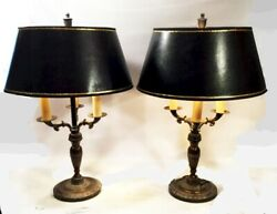 Pair of bouillote lamps. Vintage 1960#x27;s bases in bronze finish and new shades. $389.00