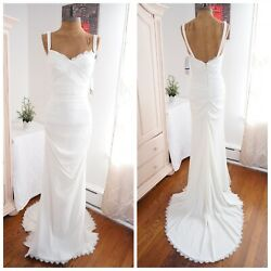 Nicole Miller Stretch Mermaid Bodice V Neck Wedding Dress Bridal Gown Ivory US 2