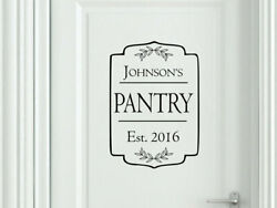 PERSONALIZED FAMILY PANTRY Door Kitchen Vinyl Wall Decal Decor Farmhouse Rustic $16.95
