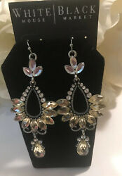 WHITE HOUSE BLACK MARKET Gorgeous Jeweled  Silver Chandelier Earrings-$30-NWT!