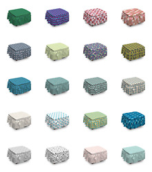 Ambesonne Geometric Modern Ottoman Cover 2 Piece Slipcover Set and Ruffle Skirt $49.99