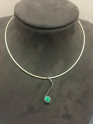 NEW pendant by Gary Dulac 1.03cts round Colombian emerald on 16