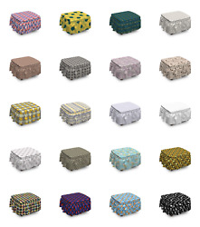 Ambesonne Retro Elements Ottoman Cover 2 Piece Slipcover Set and Ruffle Skirt $49.99