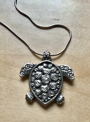 """Silver Plated Turtle Pendant On 22"""" 925 Sterling Silver 1mm Snake Chain  $8.99"""