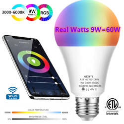Wifi Smart LED light Bulb 9W 60W A19 850LM RGBW Dimmable for Alexa Google Home $12.99