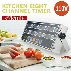 8 Channel Timer LED Digital Commercial Countdown Kitchen Calculagraph Loud Alarm