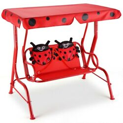 Kids Swing Sets Children Outdoor Porch Bench With Canopy Red Swings Playground $109.94