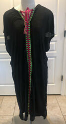 Pitusa NWT Womens Cover up Sun Dress Black One Size $69.99