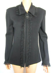 St. John Collection Sweater Jacket Size 10 Black With Ruffled Netting Trim