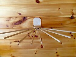ANTIQUE VINTAGE Wooden 8 Arm SPINDLE WALL MOUNT DRYING RACK Laundry Clothes $40.00