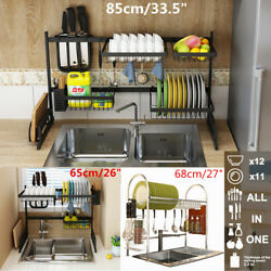Over Sink Dish Drying Rack 2 Tier Stainless Steel Cutlery Drainer Kitchen Shelf $59.98