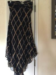 Womens sz 4 Adrianna cocktail dress black and gold sleeveless scarf hemline