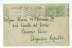 1910 London Great Britain Commercial Post Card to Argentina Pair 1 2d KEVII