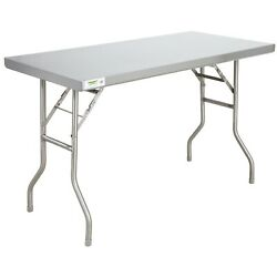 Commercial 24quot; x 48quot; Stainless Steel Folding Work Prep Table Open Kitchen NSF