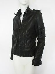 STUNNING WOMENS ALL SAINTS VINTAGE SNITCH LEATHER JACKET ZIP BIKER BOMBER 8 £295 $193.91