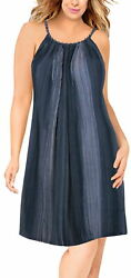 LA LEELA Women#x27;s Beach Dress Tunic Top T Shirt Dress Caftan US 14 18W Navy L298 $19.98
