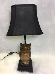 "owl lamp Small With Black Shade Approx H17"" $35.00"