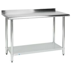 Commercial 24quot; x 48quot; Stainless Steel Work Prep Table With Backsplash Kitchen NSF