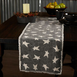 Black Primitive Star 13x54 Distressed Enzyme Washed Runner Country Farmhouse $6.78