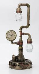 Steampunk Pipework Clock Stand Cordless LED Skull Bulb Copper Accent Desk Light $139.99