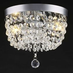 Crystal Flush Mount Light Fixture Modern Chandelier Ceiling Chrome Clear 2 New