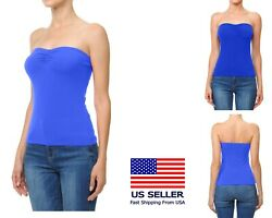 Womens BASIC Stretch Sleeveless PLAIN Strapless TUBE TOP Bandeau Tee $6.99