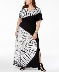 INC Womens PLUS Black Multi White Tie Dyed Maxi Dress Size 1X $29.99