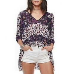 $90 Free People Isabelle Tunic Top NWT Sz XS L Floral Flowy Boho Blue Flowers $38.99