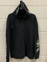 Pac Sun Women#x27;s Floral Embroidered Hoodie Oversized Fit Size Medium Black $24.99