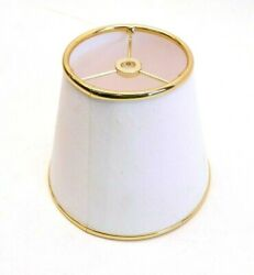 NEW White Gold Lamp Shade Fabric Small Lampshade for Table Lamp 5.5 X 6.5 X 4 $14.99