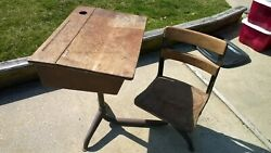 Antique Student School Desk Cast Iron Wood Top & Chair 1940s. pick up only