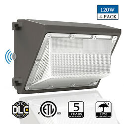 4Pack 120W Led Wall Pack Light Dusk to Dawn Commercial Light Security Lighting
